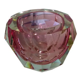 Sommerso Flavio Poli Pink Glass Faceted Bowl For Sale
