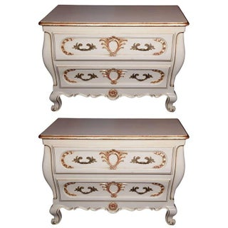 French Louis XV Style Bombe Nightstands - A Pair For Sale