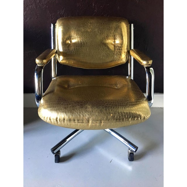 Gold Castelli Style Metallic Mock Croc Swiveling Office Chair For Sale - Image 8 of 8
