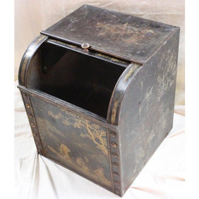 Metal Antique Tea Bin/Side Table For Sale - Image 7 of 13