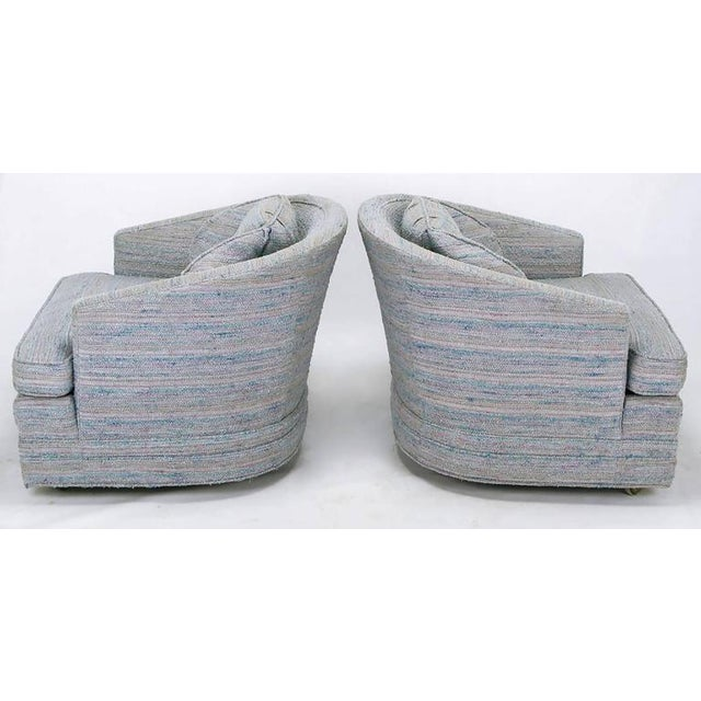 Pair of Knapp & Tubbs Barrel Chairs in Original Blue Upholstery - Image 5 of 9