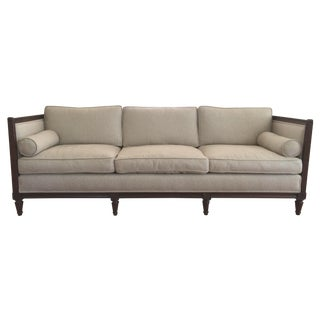 Regency-Style Down Filled Natural Linen Sofa For Sale