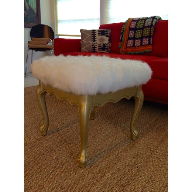Faux Fur French Provincial Ottoman - Image 2 of 5