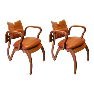 Pair of Scandinavian Leather Ornate Arm Chairs For Sale