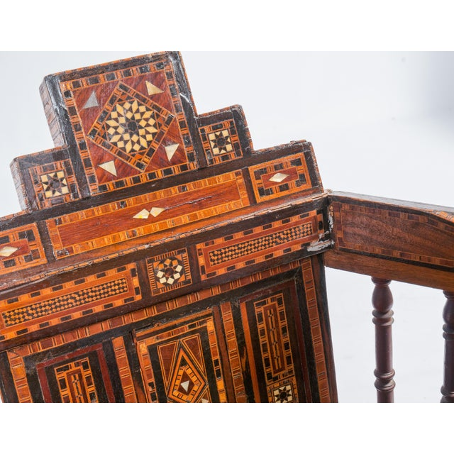 Early 20th Century Turkish Wood Inlay Chair - Image 3 of 6