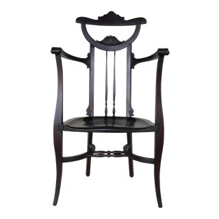 Antique Aesthetic Movement Walnut Butler Chair For Sale