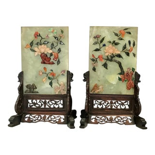 Jade Coral Turquoise Carnelian Agate with Table Screen Rosewood Stands - a Pair For Sale