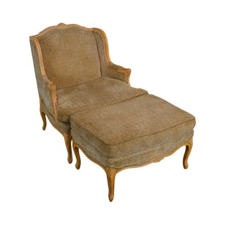 French Louis XV Style Custom Upholstered Wide Seat Bergere Chair With Ottoman For Sale