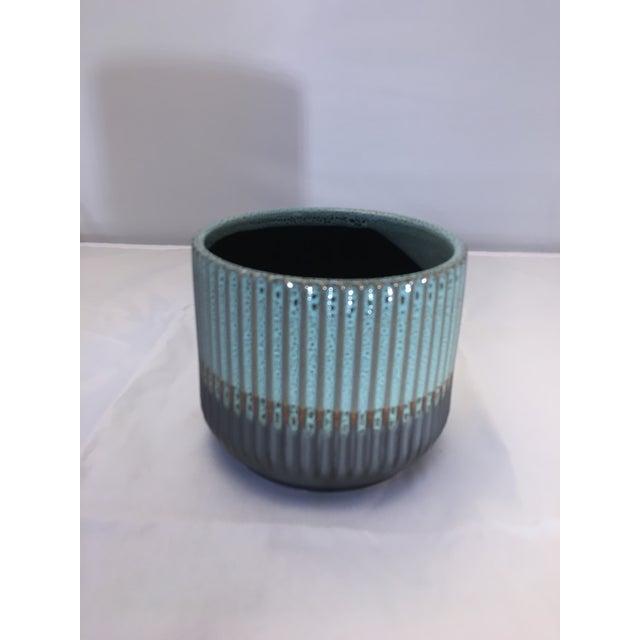 Asian Palma Blue Ceramic Flower Pot For Sale - Image 3 of 7