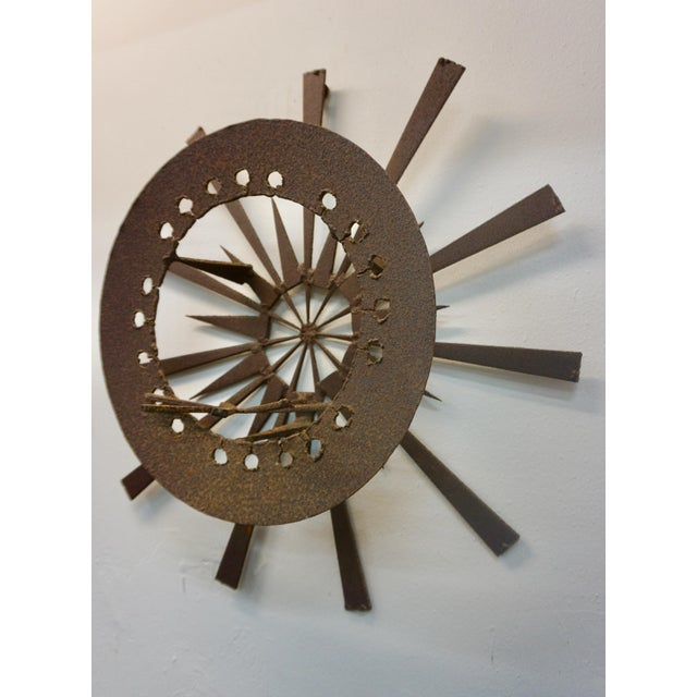 Brutalist hand crafted,torch cut wall sculpture for indoor or outdoor use.
