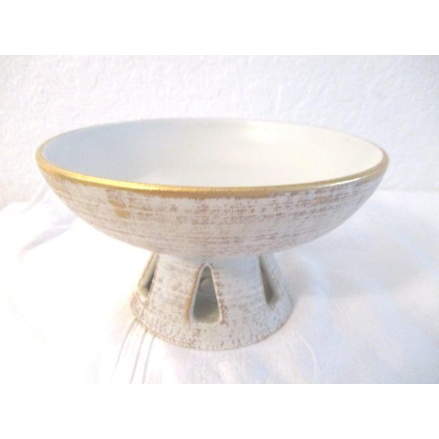 1960s Danish Modern White & Gold Vase & Bowl For Sale - Image 5 of 10