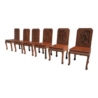 Antique Highly Carved Asian Dining Chairs - Set of 6 For Sale