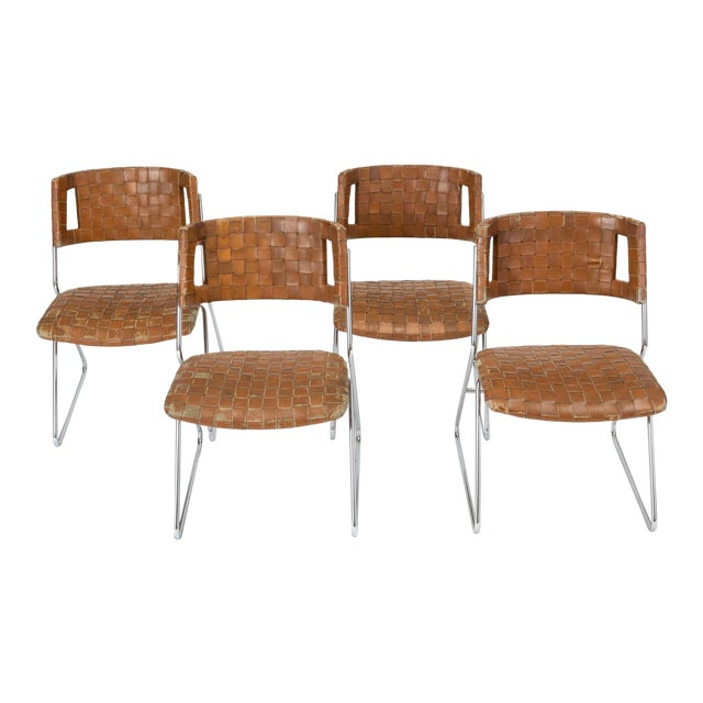 Set of Four Dining Chairs With Woven Leather Upholstery by Chromcraft For Sale