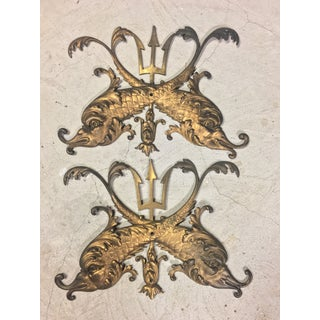 Nouveau Gilt Bronze Dolphins With Trident Wall Ornaments - a Pair For Sale