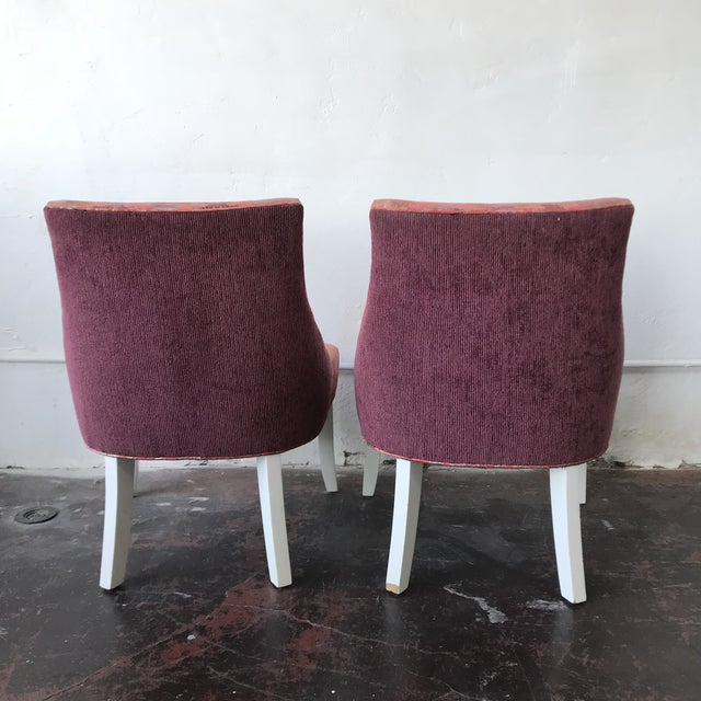 Vintage Pink & Rainbow Upholstered Vanity Chairs - a Pair For Sale - Image 4 of 8