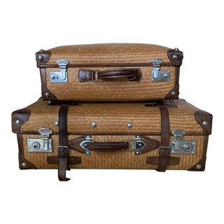 Vintage Rattan and Leather Luggage - a Pair For Sale