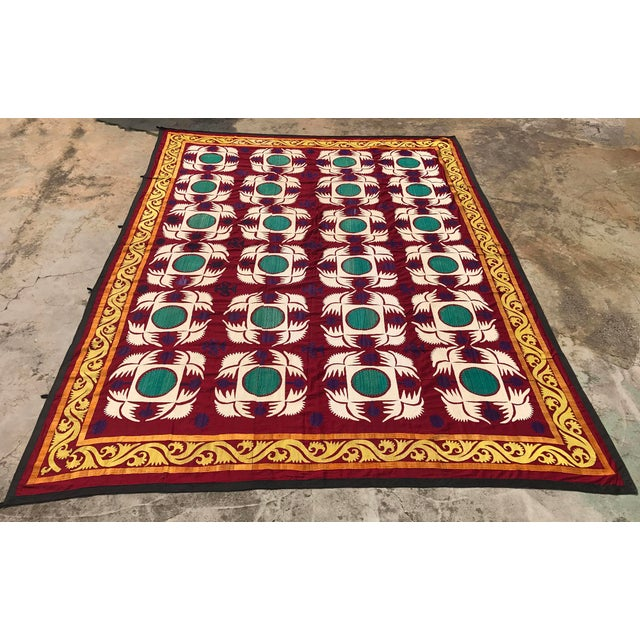 Perfect COLORFUL SUZANI FABRIC - Handmade Bedspread - Vintage Table Cover - Wall Hanging. * size is 9.5 FEET x 7.2 FEET (...