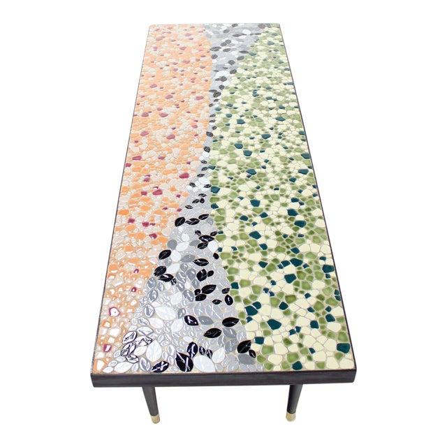 Mid-Century Modern Art Mosaic Top Long Rectangular Table For Sale