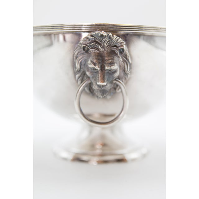 Reed & Barton Silver Plate Lion Heads Oval Pedestal Bowl For Sale In Houston - Image 6 of 7
