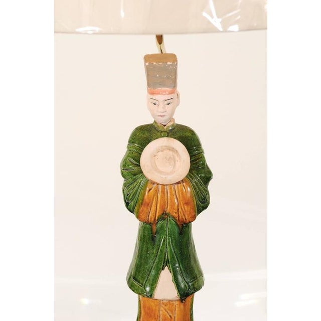 Brass Regal Pair of Chinese Mudmen Figures as Custom Lamps For Sale - Image 7 of 11