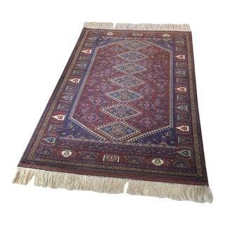 Pakistani Wool And SIlk Bokhara Rug-3′2″ × 4′ For Sale