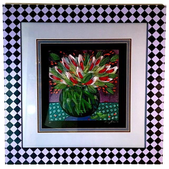 1991 Original Penny Feder Expressionist Floral Monotype Painting- Vintage/Signed For Sale