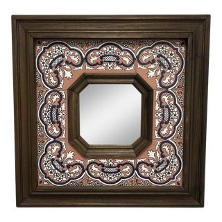 Custom Spanish Sevilla Wood + Tile Mirror For Sale