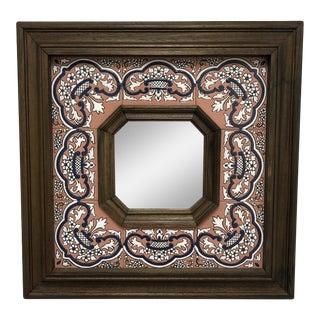 Custom Spanish Sevilla Wood + Tile Mirror For Sale