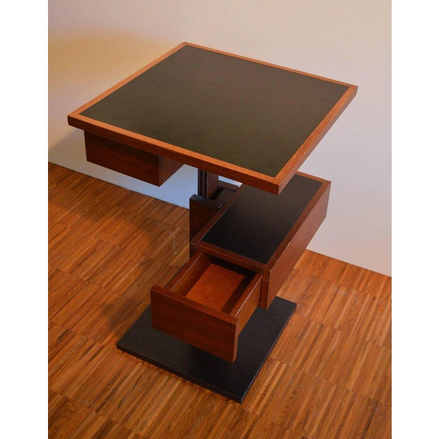 Very rare and exceptional nightstand / side table with compartment and drawer by Bernard Vuarnesson. The base and the top...