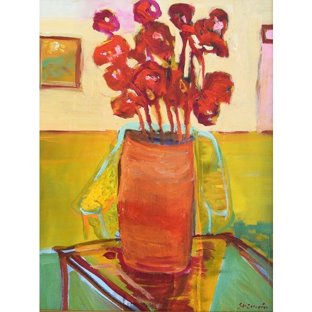 "Impressionist painting of a vase of flowers on a table on Masonite board by Juan ""Pepe"" Guzman-Maldonado (Chile b.1948)...."
