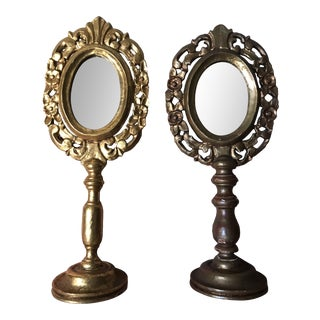 Late 19th Century Italian Carved Gilded Reliquary Stands Converted to Mirrors - a Pair For Sale