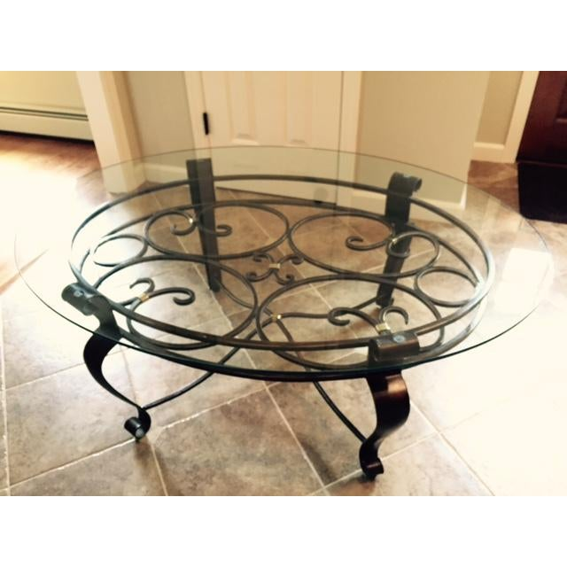 Glass & Iron Cocktail Table - Image 3 of 5