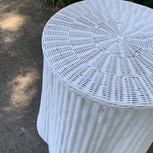 Country Trompe l'Oeil Round Top White Draped Rattan Table For Sale - Image 3 of 9