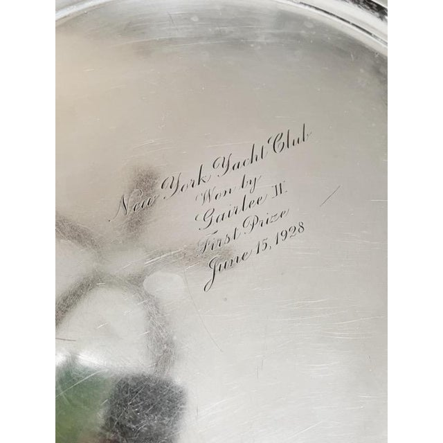 Art Deco 1928 Tiffany & Co Sterling Silver Ny Yacht Club Trophy Tray For Sale - Image 3 of 9