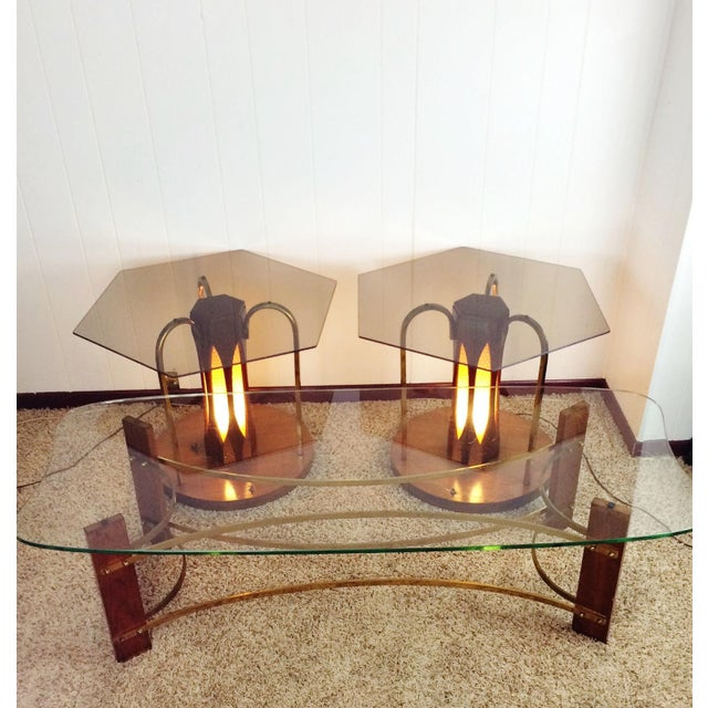 No you are not dreaming, this amazing set really does exist! 3 Piece Vintage Mid Century Wood & Glass Coffee and Lighted...