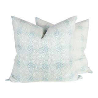 Jane Shelton's Vermicelli Blue Linen Pillows - A Pair