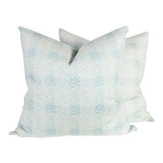 Jane Shelton's Vermicelli Blue Linen Pillows - A Pair For Sale