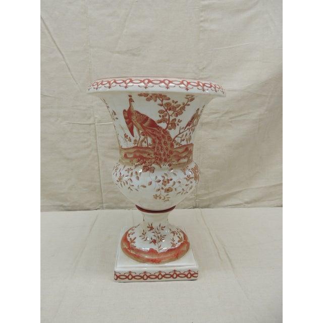 Orange and White Ceramic Urn For Sale In Miami - Image 6 of 6