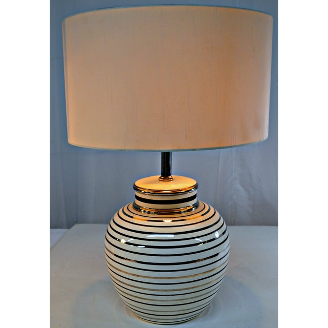 Mid Century Bowl Table Lamp & Drum Shade - Image 4 of 10