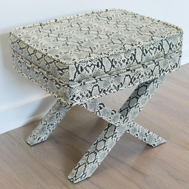 Billy Baldwin Billy Baldwin Style Python Leather X-Bench Ottoman Footstool For Sale - Image 4 of 13