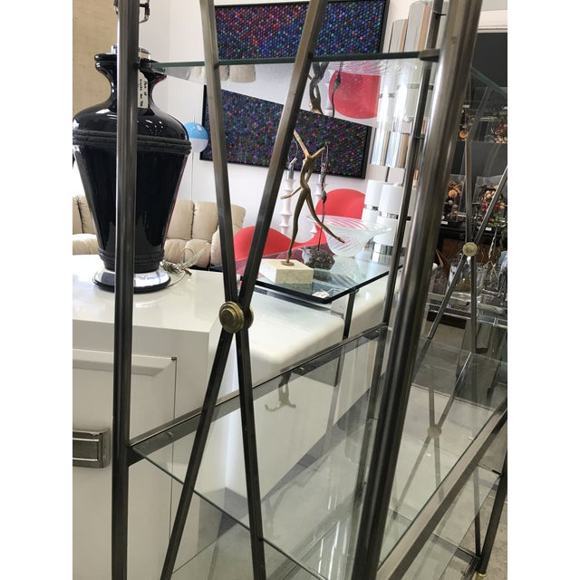 Glass Dia Etagere with Glass Shelves For Sale - Image 7 of 13
