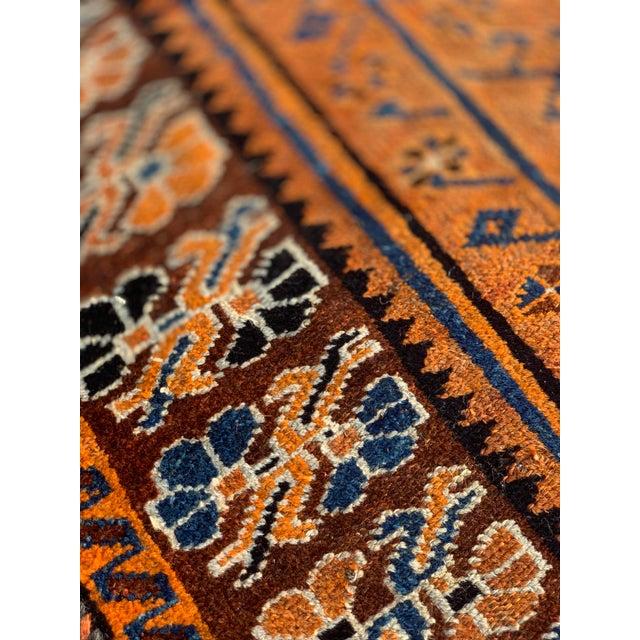 Orange 1930s Vintage Kurdish Rug - 4′2″ × 6′10″ For Sale - Image 8 of 13