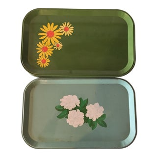 Vintage Tole Daisy & Gardenia Trays - Set of 8
