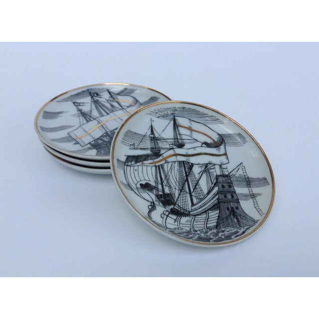 "Fornasetti Attr. Tall Ships ""Velieri"" Coasters - Set of 4 For Sale - Image 4 of 11"