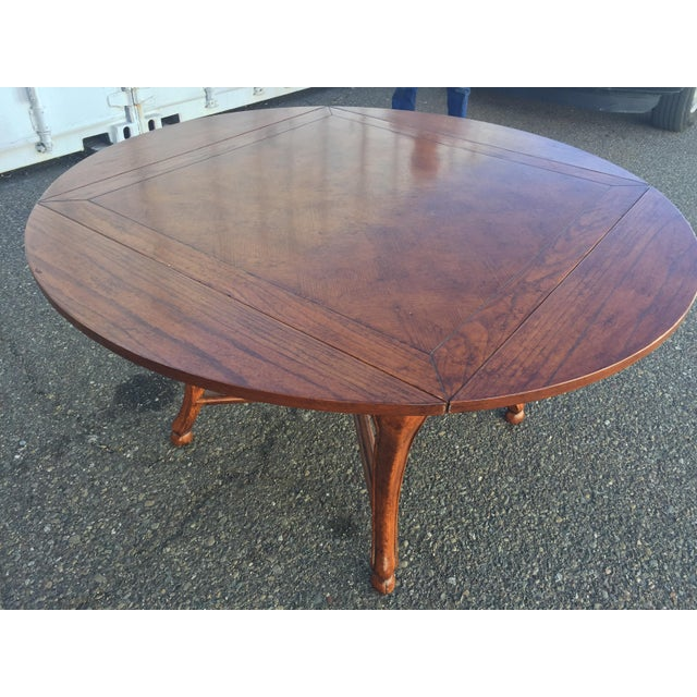 Brown Dining Table With Leaves For Sale - Image 8 of 11