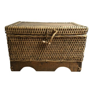 Vintage Boho Chic Large Rattan and Wood Hand-Made Keepsake Box