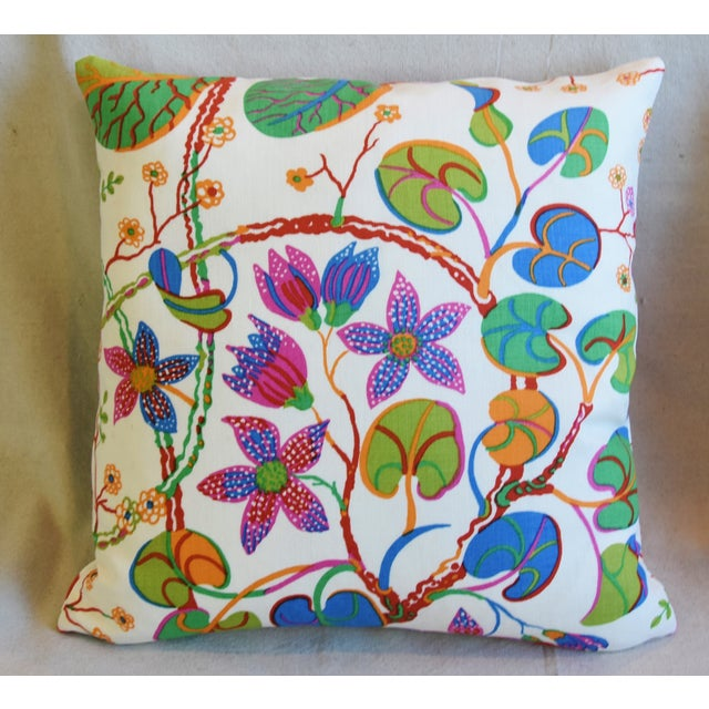 "Boho Chic Designer Josef Frank ""Teheran"" Floral Linen Feather/Down Pillows 18"" Square - Pair For Sale - Image 3 of 11"