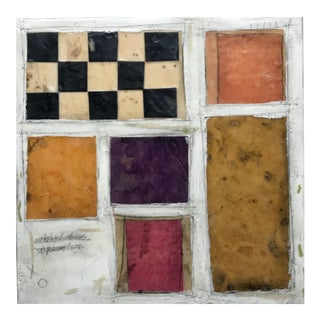 "Gina Cochran ""Necessity of Play No. 8"" Encaustic Collage Painting For Sale"