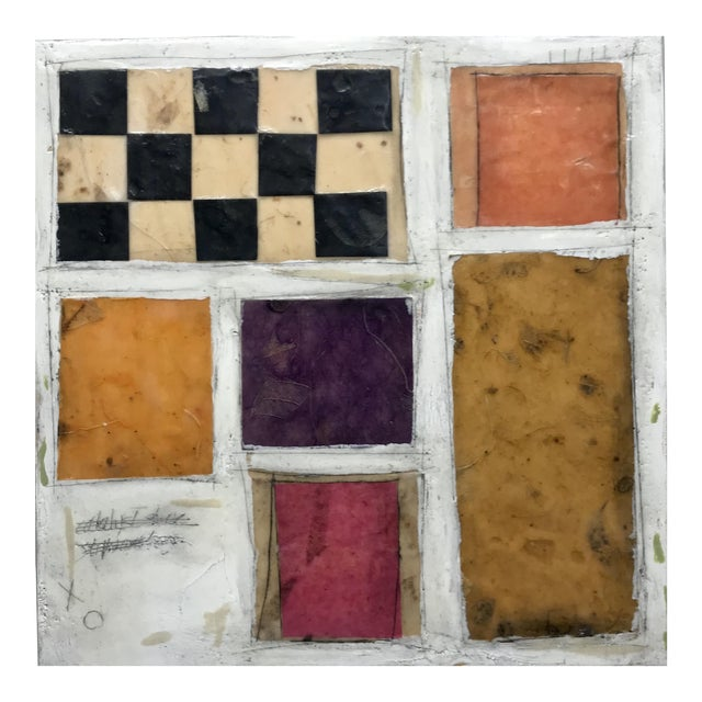 """Gina Cochran """"Necessity of Play No. 8"""" Encaustic Collage Painting For Sale"""