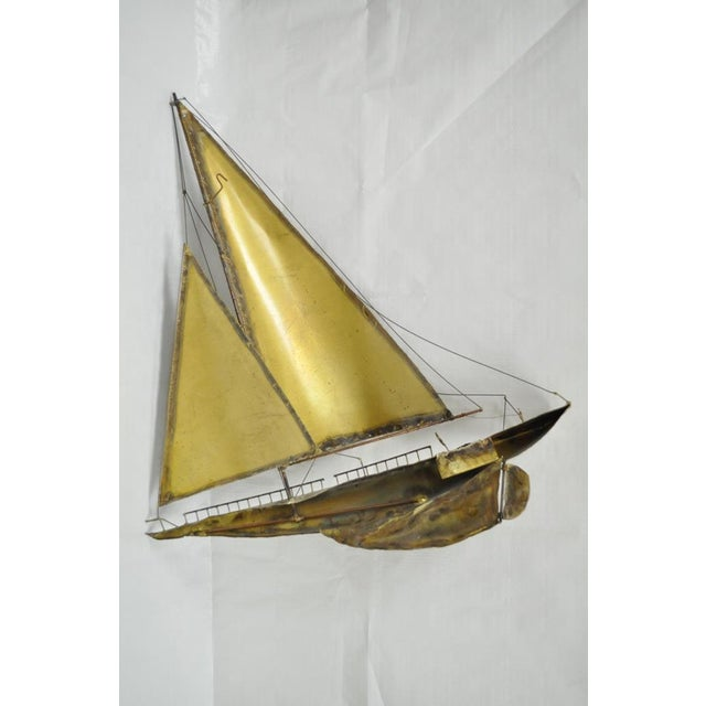 Vintage RaMan Brutalist Mid Century Modern Clipper Ship Wall Sculpture Jere Style - Image 10 of 11